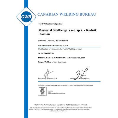 Certyfikat Kanadyjskiego Biura Spawalniczego dla Mostostalu Siedlce Oddział Rudnik