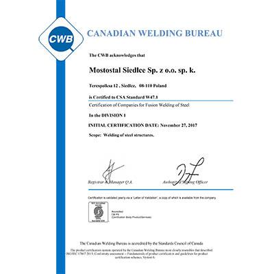 Certyfikat Kanadyjskiego Biura Spawalniczego dla Mostostalu Siedlce